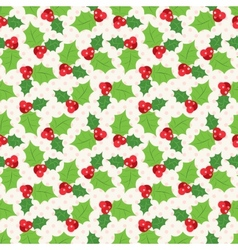 Seamless pattern of holly berry sprig vector image vector image