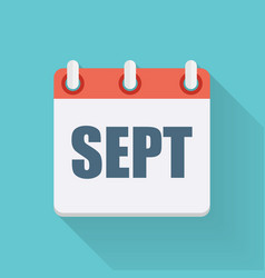 September Dates Flat Icon with Long Shadow vector image
