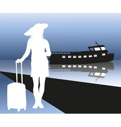 Silhouette of a lady going on a cruise ship vector