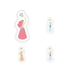 Stylish concept paper sticker bride throws bouquet vector