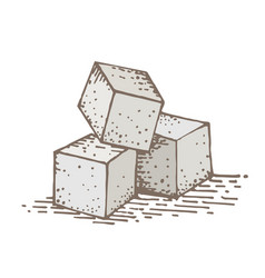 Sugar cube hand drawing vector
