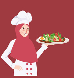 Woman chef holding plate of food salad the girl vector