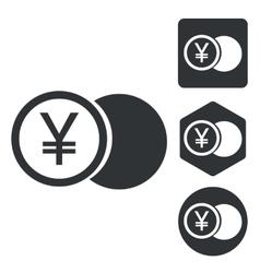 Yen coin icon set monochrome vector image