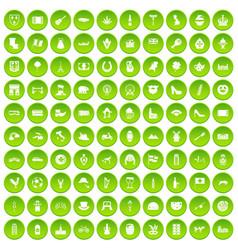 100 europe icons set green circle vector