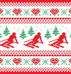 Christmas winter red and green seamless pattern vector