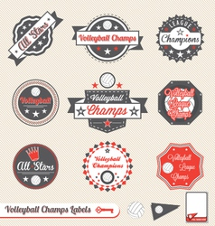 Volleyball league champs labels vector