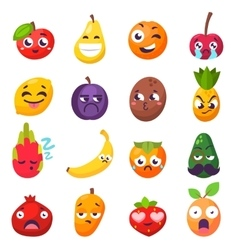 Emotions fruit characters isolated vector image