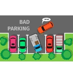 Bad parking car parked in inappropriate way vector