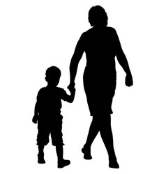 Silhouette of happy family on a white background vector