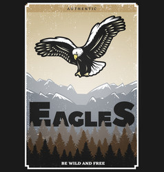Vintage colored american eagle poster vector