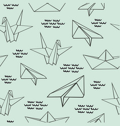 Origami seamless contour pattern with origami vector