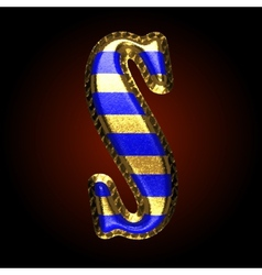 Golden and blue letter s vector