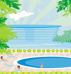 Relaxing tropical swimming pool vector