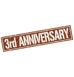 3rd anniversary square grunge stamp vector