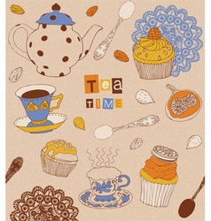 Cups and cakes vector