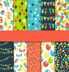 Set of 10 seamless bright celebration festive vector