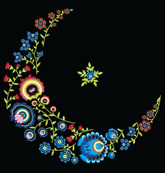 Polish folk floral pattern in moon shape black vector