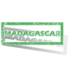 Green outlined madagascar stamp vector