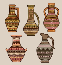 Pitchers with geometrical ornament vector