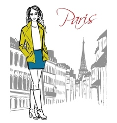 Woman standing in paris vector