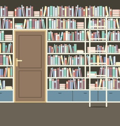 Vintage huge bookcase in library vector