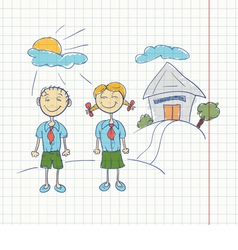 Boy and girl students doodle vector