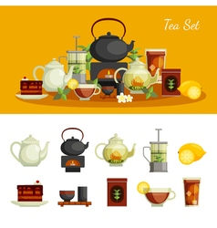 Tea icons set vector