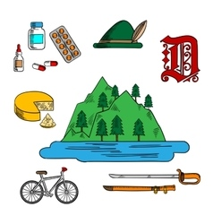 Bavarian and german travel symbols vector image