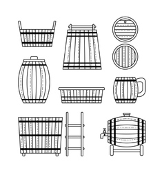 Set barrel mug wooden tub and products flat vector