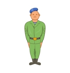 Man in green army uniform and blue beret icon vector