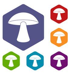 Birch mushroom icons set hexagon vector