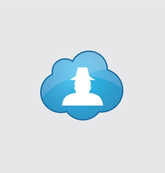 Blue cloud detective icon vector image