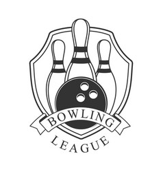 bowling league vintage label black and white vector image vector image