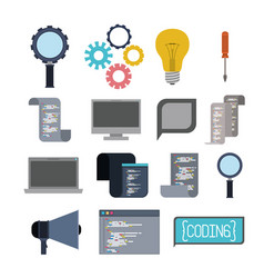 Colorful set of icons elements of programming vector