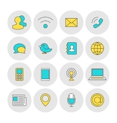 Communication outline icons flat vector image vector image