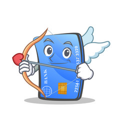 Cupid credit card character cartoon vector