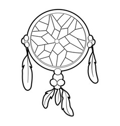 Dreamcatcher icon outline style vector