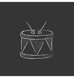 Drum with sticks drawn in chalk icon vector