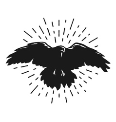 Flying crow silhouette vector image vector image