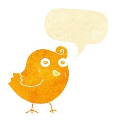 Funny cartoon bird with speech bubble vector