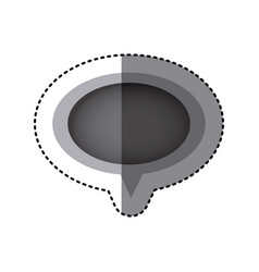 Grayscale sticker of oval speech with tail vector