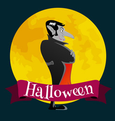 Halloween card with vampire on the full moon vector