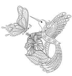 Hand drawn zentangle tribal flying butterfly vector