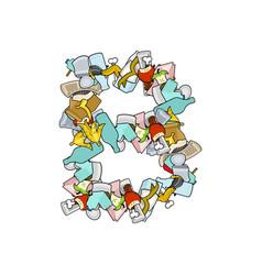 Letter b rubbish trash font garbage alphabet vector