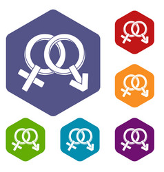 Male and female signs icons set hexagon vector