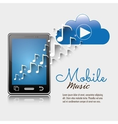 Mobile music smartphone cloud player notes vector