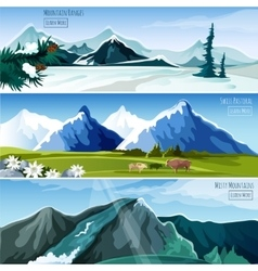 Mountain landscapes banner set vector