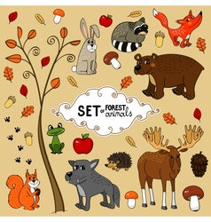 north forest animals vector image vector image