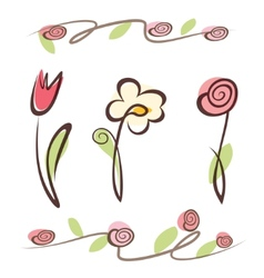 outlined hand drawn flower collection vector image vector image