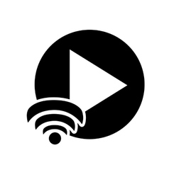 play button and wifi signal icon vector image
